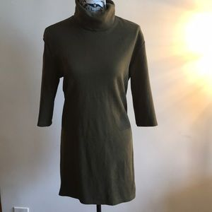 Olive green turtleneck Zara dress